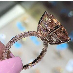18k Rose gold Ring white sapphire women ring 6ct